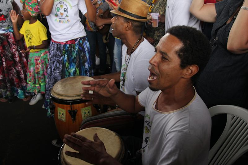 Drummers sing as they celebrate Black Consciousness Day on Nov. 20, 2018 in Rio de Janeiro.