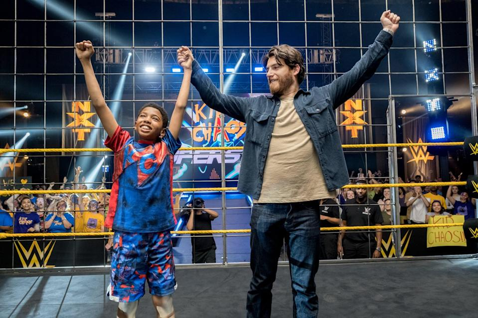 """<p><strong>Netflix's Description:</strong> """"Using special powers from a magical mask, a young WWE fan causes chaos when he enters a wrestling competition and fights an intimidating rival.""""</p> <p><a href=""""https://www.netflix.com/title/81024153"""" class=""""link rapid-noclick-resp"""" rel=""""nofollow noopener"""" target=""""_blank"""" data-ylk=""""slk:Stream The Main Event on Netflix!"""">Stream <strong>The Main Event</strong> on Netflix!</a></p>"""