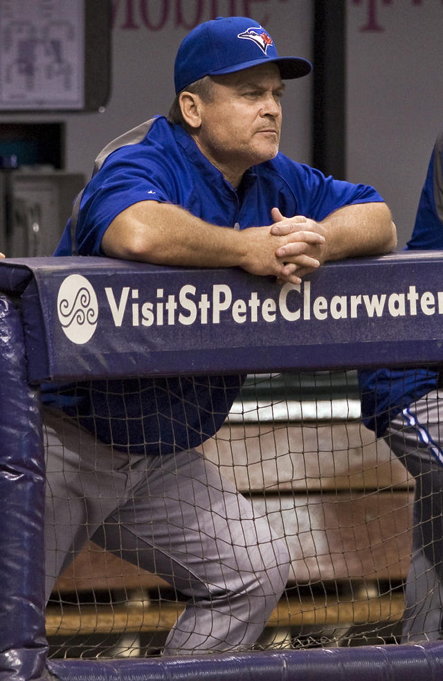Toronto Blue Jays manager John Gibbons watches his team play the Tampa Bay Rays during the first inning of a baseball game Thursday, Sept. 4, 2014, in St. Petersburg, Fla. (AP Photo/Steve Nesius)