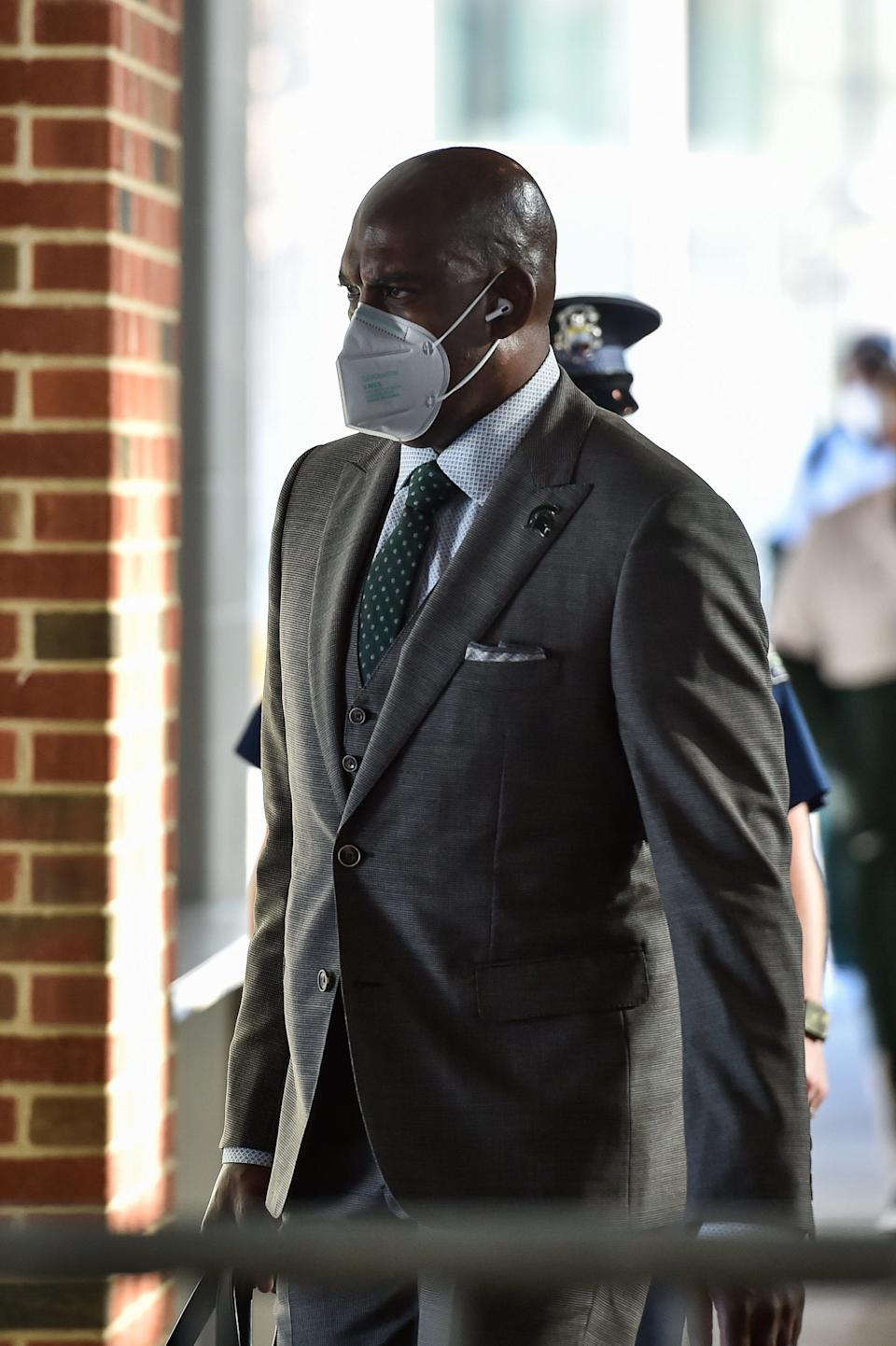 Michigan State coach Mel Tucker enters Kinnick Stadium before the game against Iowa on Saturday, Nov. 7, 2020, in Iowa City, Iowa.