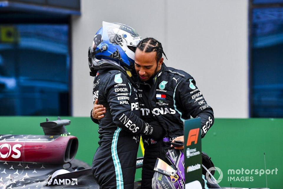 "Race Winner Lewis Hamilton, Mercedes-AMG F1 celebrates his 7th World Championship title in Parc Ferme with Valtteri Bottas, Mercedes-AMG F1 <span class=""copyright"">Mark Sutton / Motorsport Images</span>"