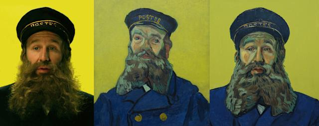 """Chris O'Dowd as Postman Roulin in """"Loving Vincent."""" In the film, the postman sends his son, Armand Roulin, on a quest to deliver a letter and find out what really happened to van Gogh."""