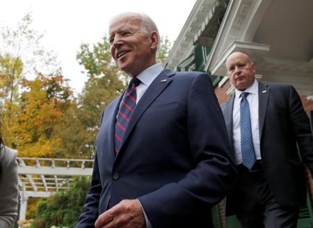 Democratic 2020 U.S. presidential candidate and former Vice President Joe Biden leaves a campaign town hall meeting in Rochester