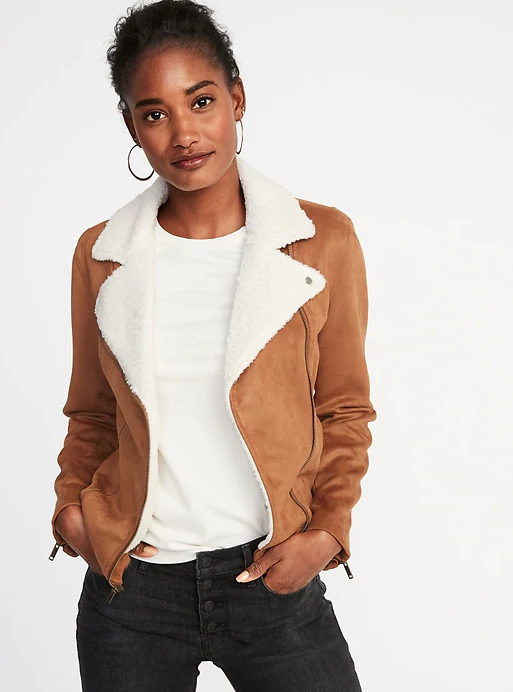 Old Navy Faux-Suede Sherpa-Collar Moto Jacket for Women. (Photo: Old Navy)