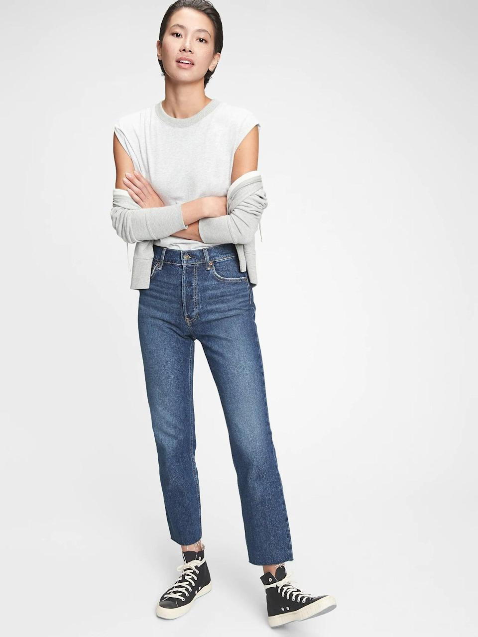 <p>These <span>Gap High-Rise Cheeky Straight Jeans</span> ($55, originally $70) are a wardrobe staple. We like them with high top sneakers or ankle booties.</p>