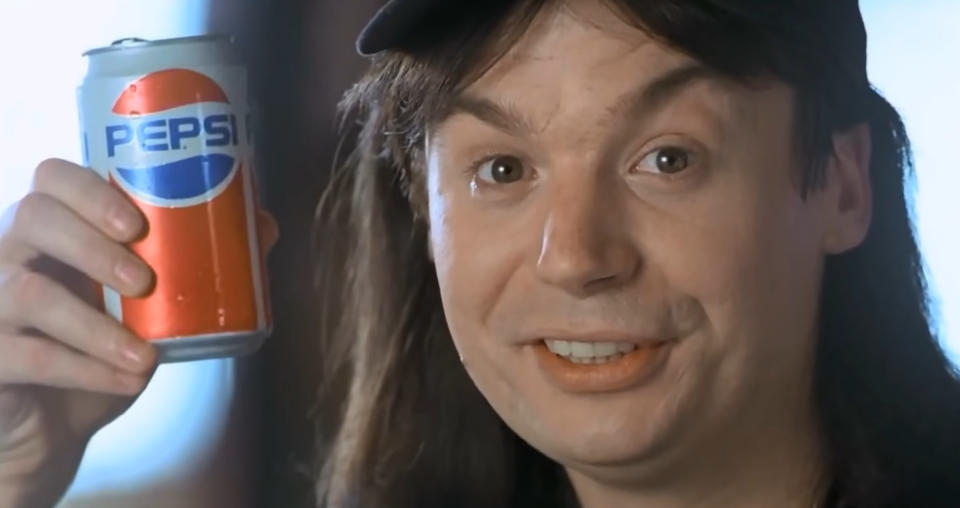 'Wayne's World' lampooned movie product placement in a knowingly ridiculous scene. (Credit: Paramount)