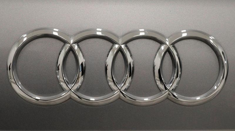 The logo of the German car manufacturer Audi is pictured at the training center during a media tour in San Jose Chilapa
