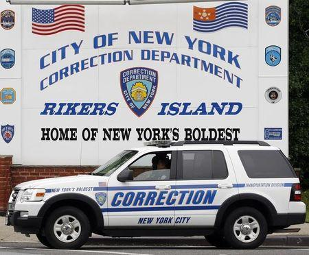 A New York City Correction vehicle leaves Riker's Island in New York City