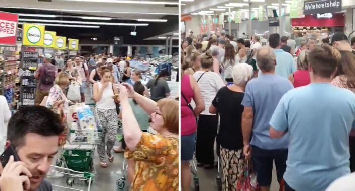 Some supermarkets in Perth filled with eager panic buyers while the premier was still announcing lockdown conditions. Source: Twitter