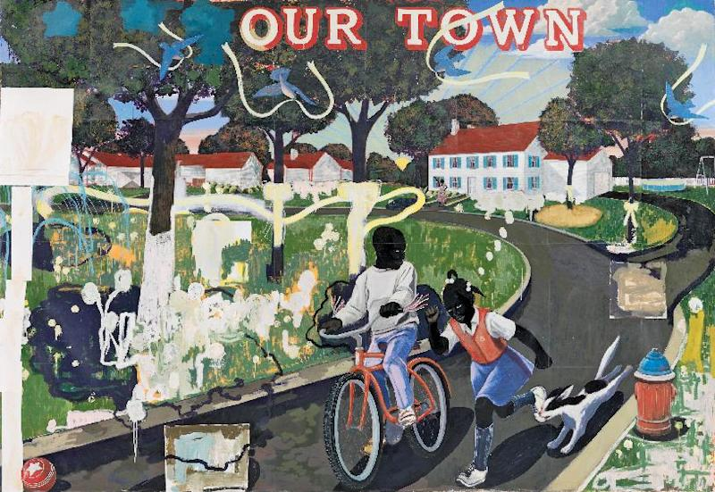 This undated handout image provided by the National Gallery of Art shows Kerry James Marshall 1995 acrylic and collage on canvas entitled: Our Town, which is part of an exhibit at the National Gallery of Art in Washington which is part of an exhibit at the National Portrait Gallery in Washington focusing on more than 150 years of African-American history from slavery to civil rights and contemporary suburban life. (AP Photo/National Gallery of Art)