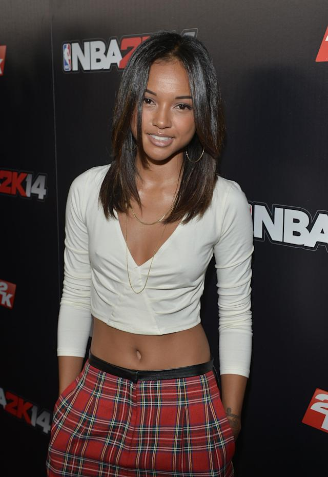 WEST HOLLYWOOD, CA - SEPTEMBER 24: Karrueche Tran attends the NBA 2K14 premiere party at Greystone Manor on September 24, 2013 in West Hollywood, California. (Photo by Charley Gallay/Getty Images for 2K)