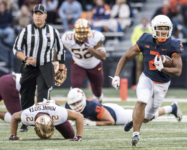 Illinois running back Reggie Corbin (2) breaks away to the end zone in the second half of a NCAA college football game against Minnesota, Saturday, Nov. 3, 2018, in Champaign, Ill. (AP Photo/Holly Hart)