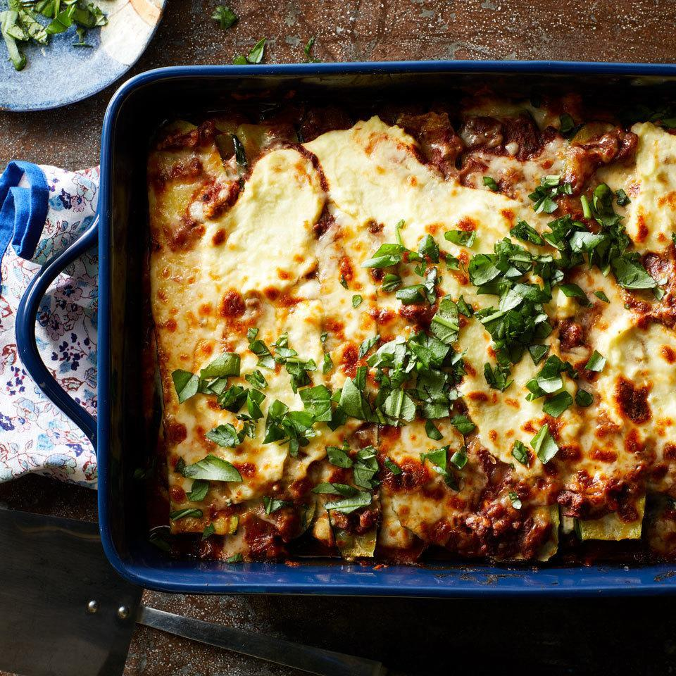 <p>Roasted zucchini slices stand in beautifully for wheat pasta in this no-noodle lasagna. The simple swap reduces calories and eliminates gluten. It's also a great way to use up extra zucchini if your plants are prolific.</p>