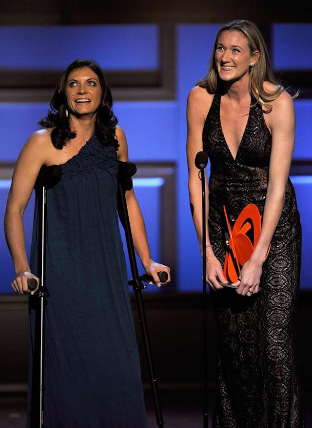 Athletes Misty May-Treanor and Kerri Walsh speak on stage during the Glamour Magazine 2008 Women of the Year Awards at Carnegie Hall on November 10, 2008 in New York City.