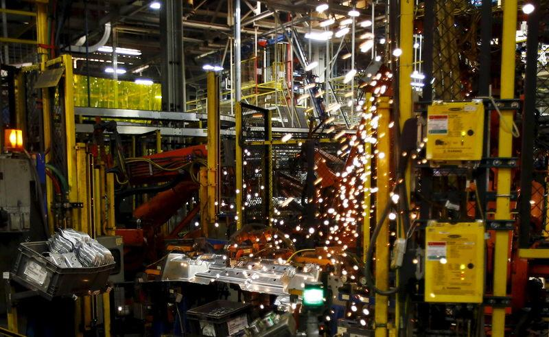 SUV parts are fabricated in the stamping facility at the General Motors Assembly Plant in Arlington, Texas