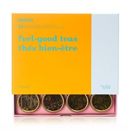 "<h3><a href=""https://www.davidstea.com/us_en/welcome-offers/feel-good-teas-12-tea-sampler/960974US01VAR0056652.html"" rel=""nofollow noopener"" target=""_blank"" data-ylk=""slk:DavidsTea Feel Good Teas Sampler"" class=""link rapid-noclick-resp"">DavidsTea Feel Good Teas Sampler</a></h3><br>For the woman that loves tea and is in need of a little pick-me-up right now (aren't we all?), consider this colorful selection of loose leaf teas and infusions designed to help her relax, digest, energize, detox and beautify.<br><br><strong>David's Tea</strong> Feel Good Teas 12 Tea Sampler, $, available at <a href=""https://go.skimresources.com/?id=30283X879131&url=https%3A%2F%2Fwww.davidstea.com%2Fus_en%2Fwelcome-offers%2Ffeel-good-teas-12-tea-sampler%2F960974US01VAR0056652.html"" rel=""nofollow noopener"" target=""_blank"" data-ylk=""slk:David's Tea"" class=""link rapid-noclick-resp"">David's Tea</a>"