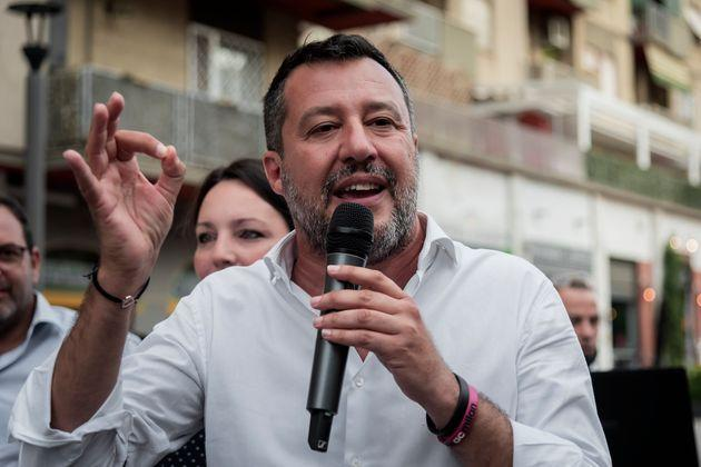 ROME, ITALY - AUGUST 5: The leader of the Lega party Matteo Salvini, gestures as he takes part in an election rally for the Rome mayoral elections at largo Appio Claudio, Municipio VII, to present the Lega political party proposals for restoring pride to the capital on August 5, 2021 in Rome, Italy. The mayoral elections in Italy's major cities including Rome, Milan, Turin and Naples - previously due to be held between 15 April and 15 June will be held between 15 September and 15 October, according to a decree approved by the cabinet due to the Coronavirus pandemic. (Photo by Stefano Montesi - Corbis/Corbis via Getty Images) (Photo: Stefano Montesi - Corbis via Getty Images)