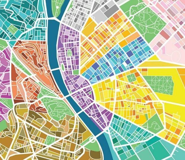 """<p>To make it simple to see which spot deserves a satisfying squeeze, the designer divvied up neighborhoods by color. (Photo: <a href=""""https://www.behance.net/gallery/13527595/Egg-Map"""" rel=""""nofollow noopener"""" target=""""_blank"""" data-ylk=""""slk:Dénes Sátor/Behance"""" class=""""link rapid-noclick-resp"""">Dénes Sátor/Behance</a>)</p>"""