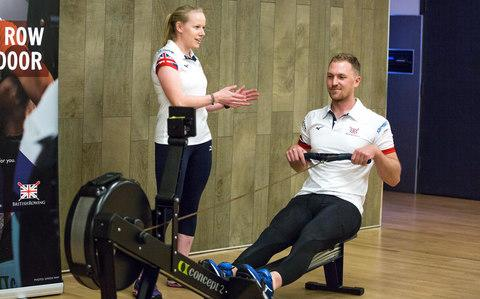 Alex Gregory, two-time Olympic Gold medallist rower and Clare Holman, British Rowing master trainer lead the masterclass - Credit: Sportsbeat/Luke Britton