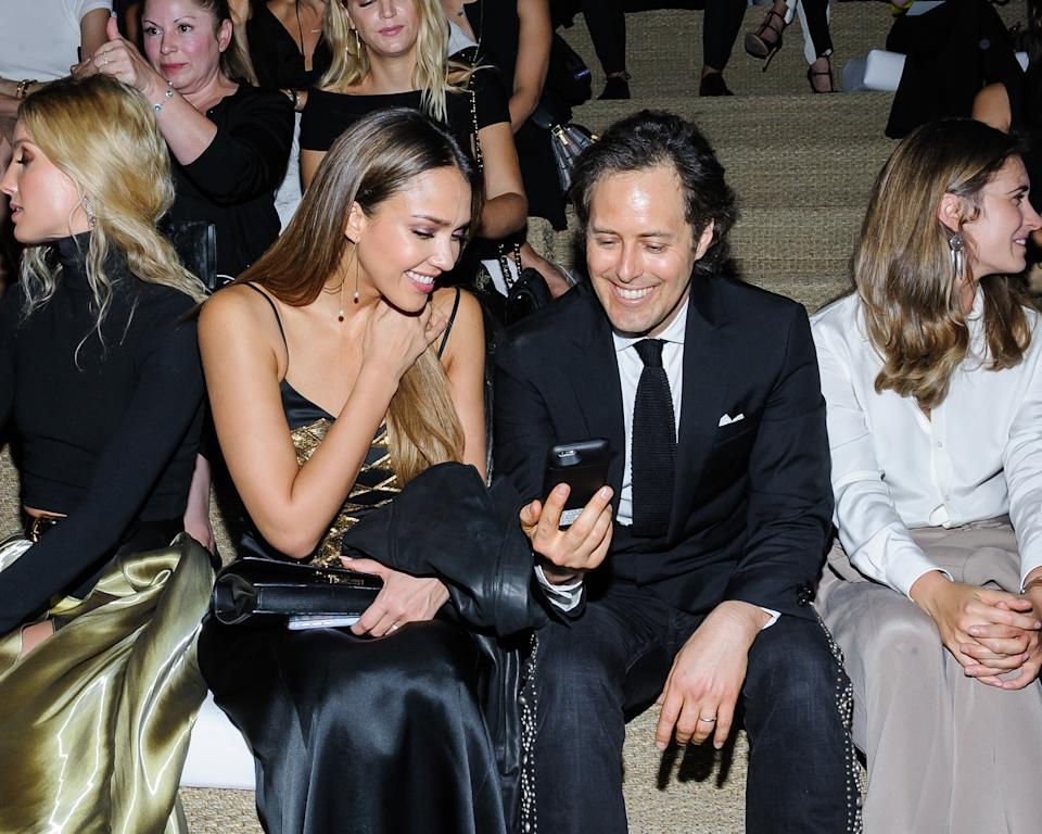 Jessica Alba, left, and David Lauren appear at the Ralph Lauren September 2016 collection fashion show at the Ralph Lauren Flagship Store on Wednesday, Sept. 14, 2016, in New York. (Photo by Christopher Smith/Invision/AP)