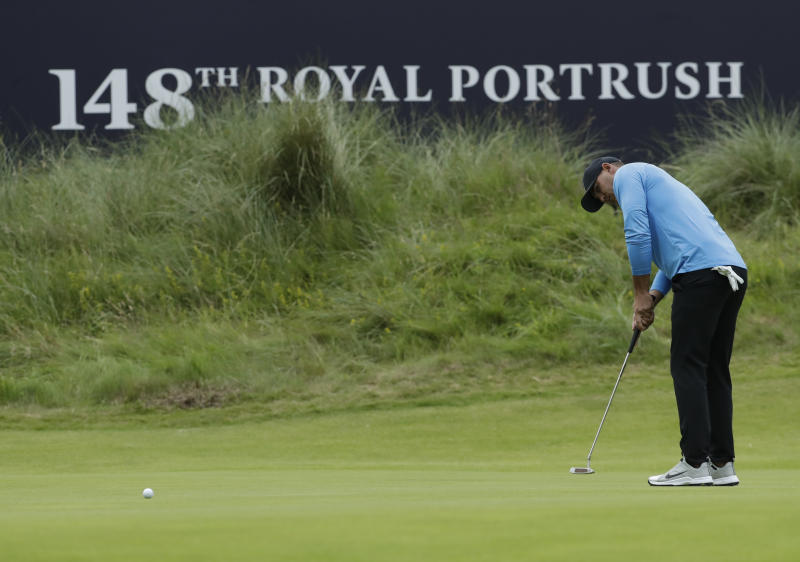 Brooks Koepka of the United States putt on the18th green during the third round of the British Open Golf Championships at Royal Portrush in Northern Ireland, Saturday, July 20, 2019.(AP Photo/Matt Dunham)