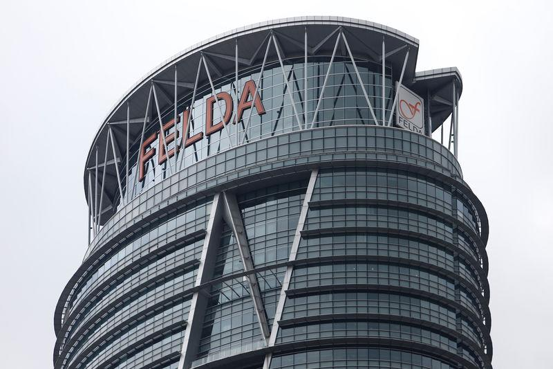 The logo of Felda is seen at its headquarters in Kuala Lumpur