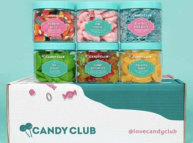 """<h2>22. Candy Club</h2> <p><strong>Cost: </strong>$30/month (first box is 50 percent off)</p> <p><strong>What you get: </strong> Six candies in 6-ounce size jars</p> <p><strong>Why we love it: </strong>Load up on a collection of six different sweet and sour candies that come in a variety of fun shapes and flavors. Great for the kids (or you know, something special just for you).</p> <p><a class=""""link rapid-noclick-resp"""" href=""""https://www.amazon.com/gp/product/B07GC3QLWS/ref=as_li_ss_tl?ie=UTF8&linkCode=sl1&tag=pur0e4-20&linkId=8123e361d7cec55115aabe381f76c0a7&language=en_US"""" rel=""""nofollow noopener"""" target=""""_blank"""" data-ylk=""""slk:Sign Up for Candy Club"""">Sign Up for <em>Candy Club</em></a></p>"""