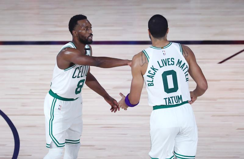 Jayson Tatum and Kemba Walker powered the Celtics to close out a sweep on Sunday. (Kim Klement-Pool/Getty Images)