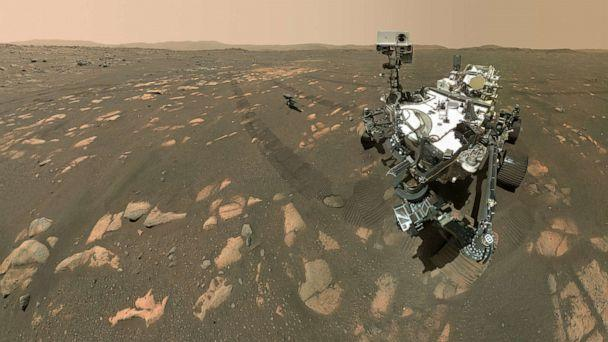 PHOTO: NASA's Perseverance Mars rover took a selfie with the Ingenuity helicopter, seen here about 13 feet from the rover in this image taken April 6, 2021. (NASA/JPL-Caltech/MSSS)