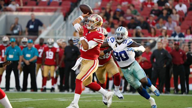 <p>Jimmy Garoppolo was off target – way off target, in fact – on half of his six pass attempts Thursday night...</p>