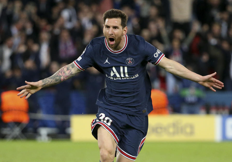 Lionel Messi (pictured) runs to the corner and celebrates his goal against Manchester City.