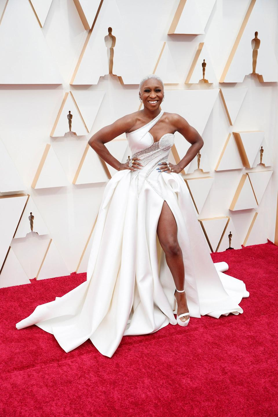 """<h2>Cynthia Erivo, 2020</h2><br>From the extra-high slit to the asymmetric neckline, this custom Versace gown includes everything that's good in the world. <br><br><em>Cynthia Erivo in custom Versace.</em><span class=""""copyright"""">Photo: Rick Rowell/Getty Images.</span>"""