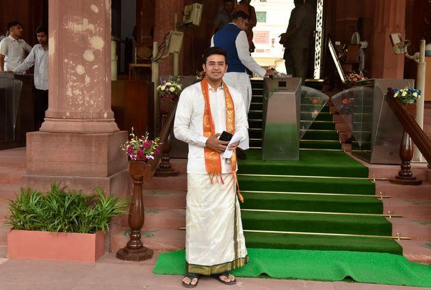Tejasvi Surya arrive in front of the Parliament of India in 2019.