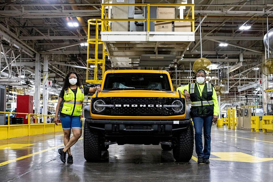 Tiffany Eastman (left) and her mother Tamara Eastman both work on the Ford Bronco at the Michigan Assembly Plant. They are seen here on June 9, 2021.