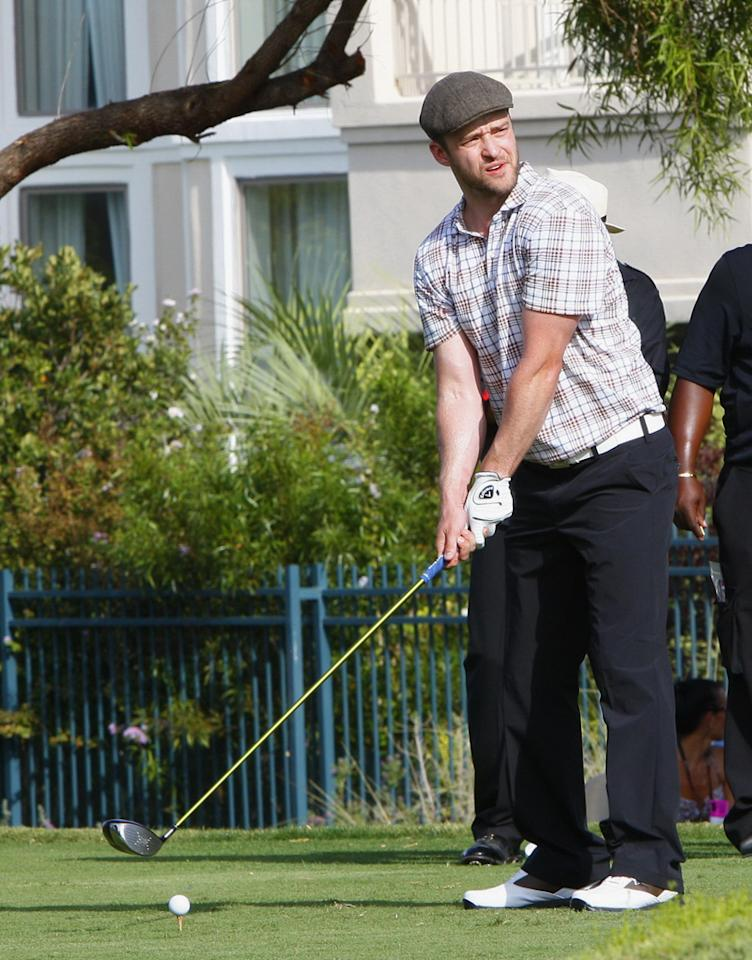 "Justin Timberlake took to the golf course for his annual Justin Timberlake Shriners Hospitals for Children Open in Las Vegas on Wednesday. While Justin played, his on-again, off-again girlfriend Jessica Biel watched nearby. The two were also seen dining together at Mastro's Ocean Club in Crystals at MGM City Center late Tuesday night, according to the <i>Las Vegas Sun</i>. Guess the two are on ... for now. Karl Larsen/<a href=""http://www.infdaily.com"" target=""new"">INFDaily.com</a> - September 28, 2011"