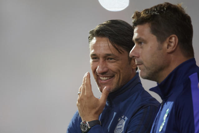 It seems like the job statuses of Bayern Munich manager Niko Kovac (left) and Tottenham Hotspur boss Mauricio Pochettino change on a weekly basis. (Getty)
