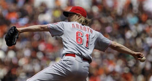 Cincinnati Reds' Bronson Arroyo works against the San Francisco Giants in the first inning of a baseball game, Sunday, July 1, 2012, in San Francisco. (AP Photo/Ben Margot)