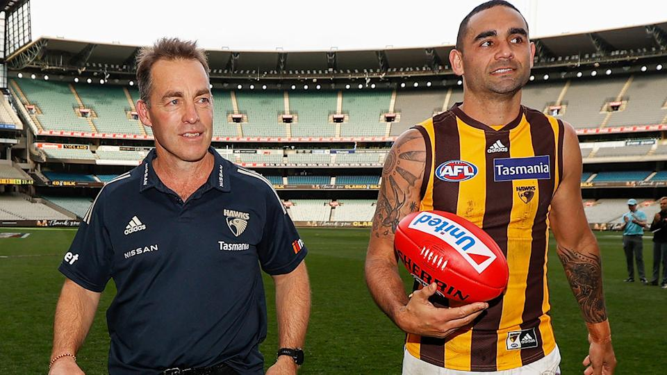 Alastair Clarkson coached his final game for Hawthorn this season, with Hawks champion Shaun Burgoyne also retiring from the game. (Photo by Michael Willson/AFL Photos via Getty Images)