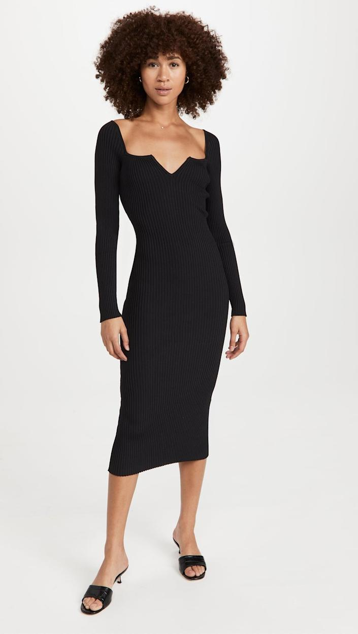 <p>Not your basic LBD, the <span>WAYF Split V Square Neck Midi Dress</span> ($138) serves the same purpose of being versatile and chic. The cute neckline and midi length bring a little something extra to the table, though.</p>