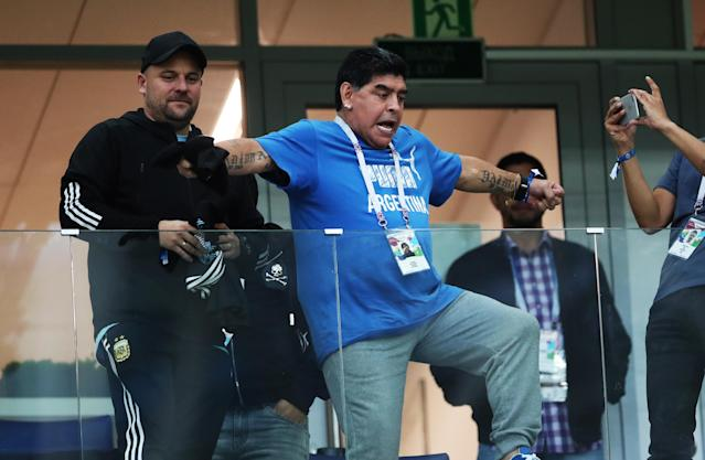<p>Maradona is seen during the 2018 FIFA World Cup Russia group D match between Argentina and Croatia at Nizhniy Novgorod Stadium on June 21, 2018 in Nizhniy Novgorod, Russia. (Photo by Ian MacNicol/Getty Images) </p>
