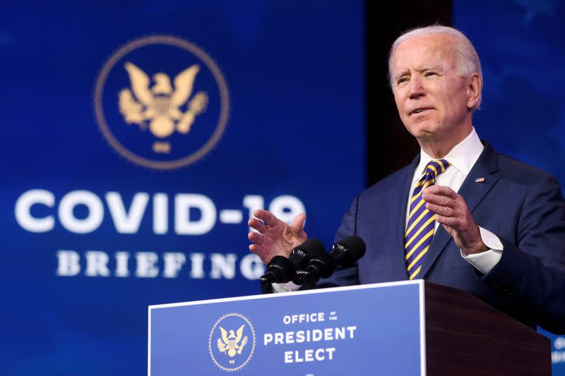 FILE PHOTO: U.S. President-elect Joe Biden delivers remarks on the U.S. response to the coronavirus disease (COVID-19) outbreak, at his transition headquarters in Wilmington