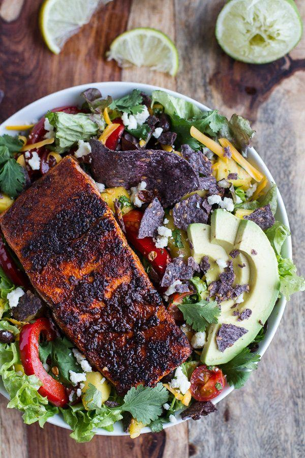 """<strong>Get the <a href=""""http://www.halfbakedharvest.com/chile-lime-salmon-fajita-salad-cilantro-lime-vinaigrette/"""" target=""""_blank"""">Chile Lime Salmon Fajita Salad with Cilantro Lime Vinaigrette recipe</a> from Half Baked Harvest</strong>"""