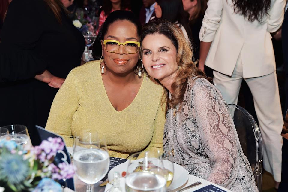 Oprah Winfrey poses with longtime friend Maria Shriver. (Stefanie Keenan/Getty Images for the Hollywood Reporter)