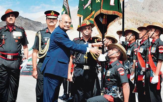 The troops expressed their joy over getting the Presidential colours  from their new Supreme Commander on his maiden visit outside the  national capital.