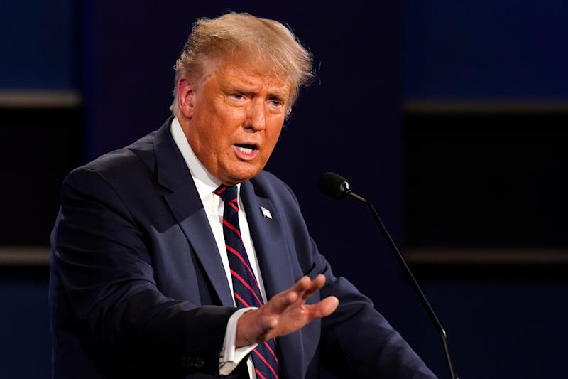 President Donald Trump at the first presidential debate on Sept. 29, 2020, in Cleveland.