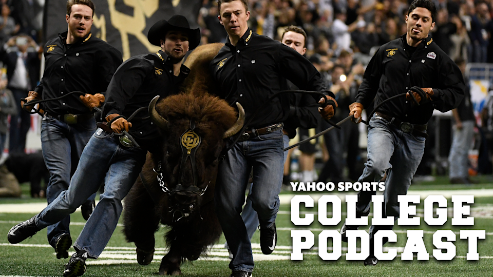 SAN ANTONIO, TX - December 29: Ralphie the Buffalo is a fully trained mascot for the University of Colorado. The buffalo involved in our Legend of Buffalo Romeo? Not so much. DO NOT miss the latest Yahoo Sports College Podcast for this date gone wrong. (Photo by Andy Cross/The Denver Post via Getty Images)