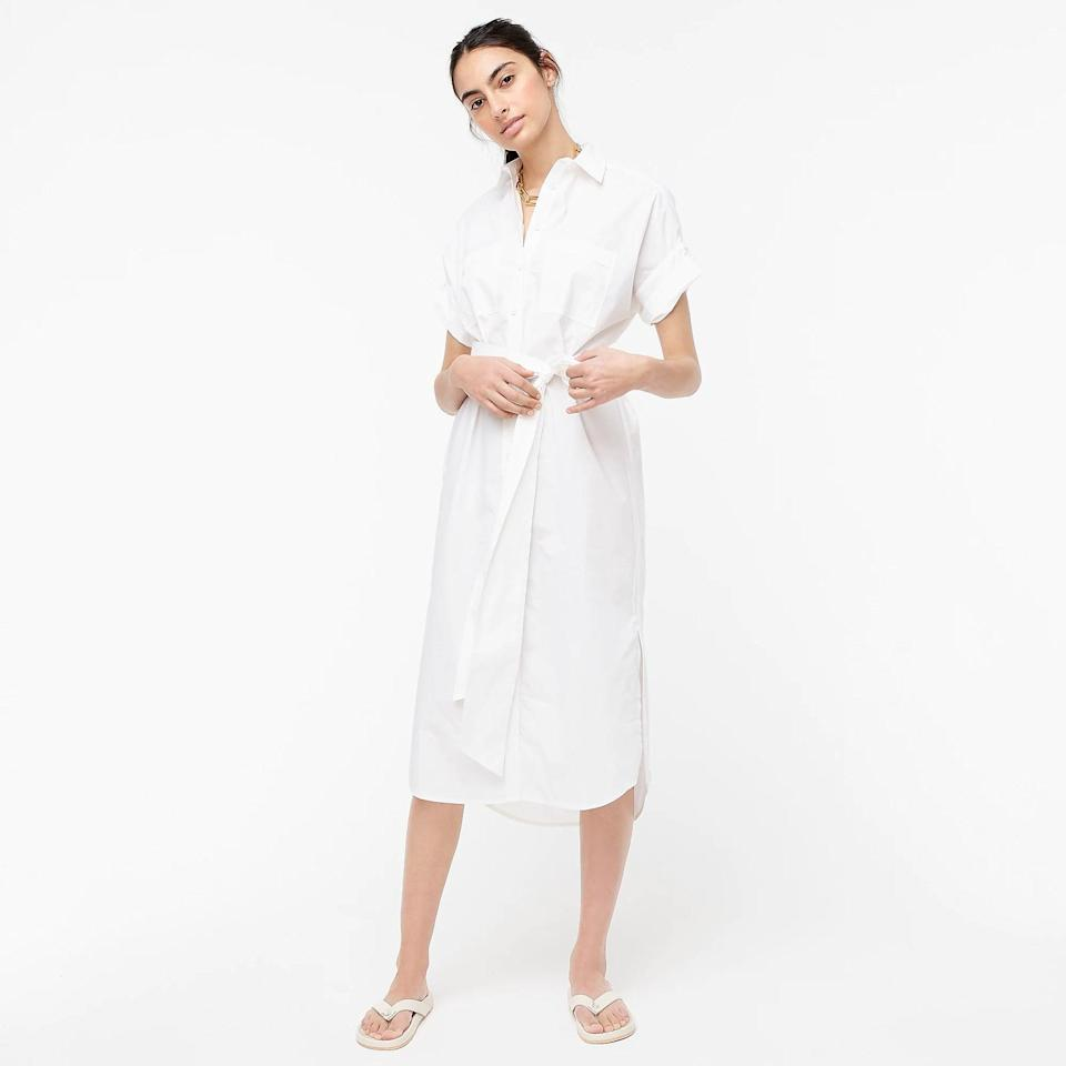 <p>There's something about a crisp white <span>Cotton Poplin Shirtdress</span> ($80, originally $118 (plus extra 60% off with code SALETIME) that looks so refreshing, it pairs nicely with the lightheartedness of the summer season. We wear this color the most when it's warm.</p>