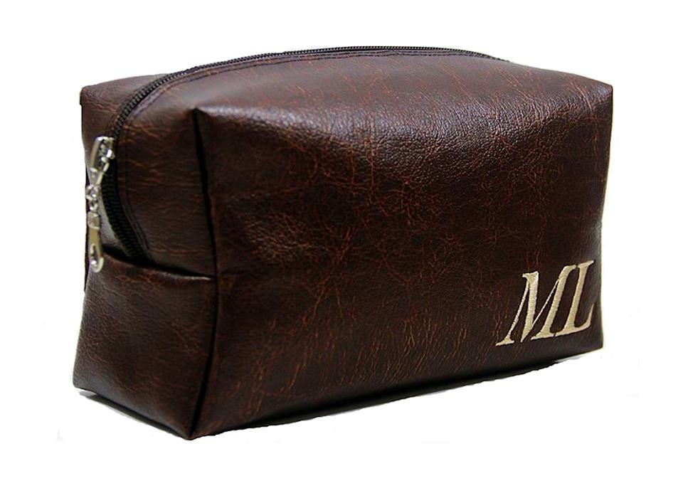 """If you're looking for a sentimental gift then add this handmade (vegan-friendly) toiletries bag to your shopping list. The personalised monogram is sure to score you extra brownie points. <a href=""""https://go.skimresources.com?id=134214X1597530&xs=1&url=https%3A%2F%2Fwww.amazon.co.uk%2FMonogram-Groomsman-Toiletry-Shaving-Personalized%2Fdp%2FB07C5FNV63%2Fref%3Dsr_1_71%3Fs%3Dhandmade%26ie%3DUTF8%26qid%3D1546950973%26sr%3D1-71"""" rel=""""nofollow noopener"""" target=""""_blank"""" data-ylk=""""slk:Buy now"""" class=""""link rapid-noclick-resp""""><em>Buy now</em></a>."""