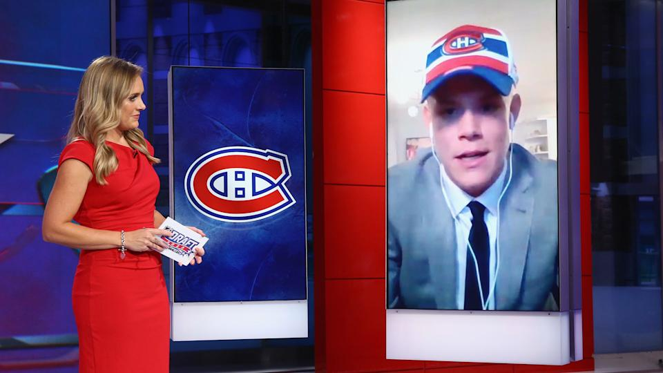 SECAUCUS, NEW JERSEY - OCTOBER 06: With the 16th pick of the 2020 NHL Draft Kaiden Guhle from Prince Albert of the WHL is selected by the Montreal Canadiens at the NHL Network Studio on October 06, 2020 in Secaucus, New Jersey.  (Photo by Mike Stobe/Getty Images)