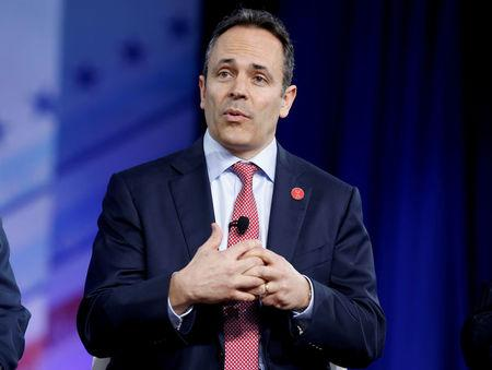 FILE PHOTO: Republican Governor Matt Bevin of Kentucky speaks during the Conservative Political Action Conference (CPAC) in National Harbor, Maryland, U.S., February 23, 2017.      REUTERS/Joshua Roberts/File Photo